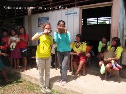 Drinking Masato at an event in Nuevo Progreso