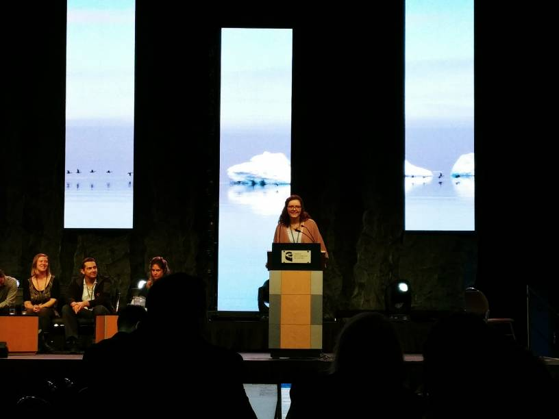 MSc Candidate Anna Manore, participating in Arctic Change 2017's 'Elevator Pitch' Competition; photo credit - Stephanie Masina