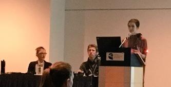 Alexandra Sawatzky presenting her research - Sherilee Harper.